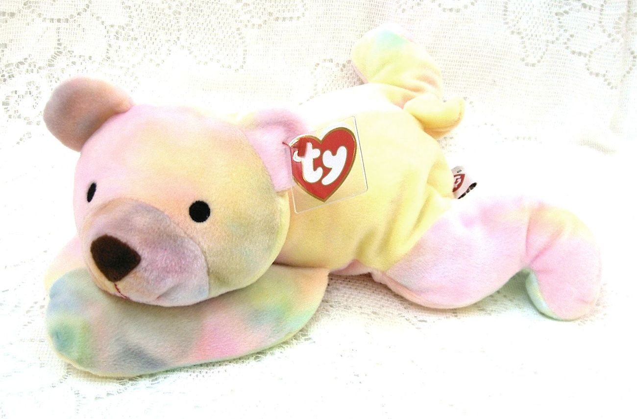 Ty Pillow Pal Sherbet Bear Pastel Multi-color Prayer Yellow Ribbon Bow Washable