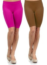 Fashion Mic Women Knee Length Seamless Slip Shorts (One Size, 2pack... - $10.88