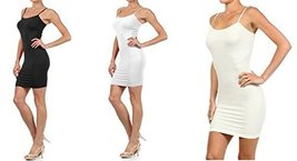 FashionMic 3 Pack Womens Seamless Cami Dress (One Size, black/white/ivory) - $24.74