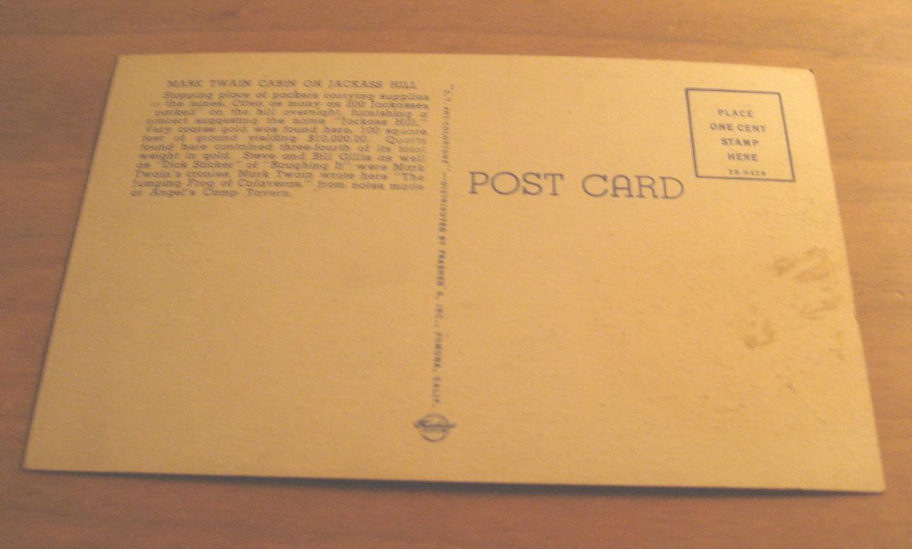 Vintage Mark Twain Cabin On Jackass Hill Postcard