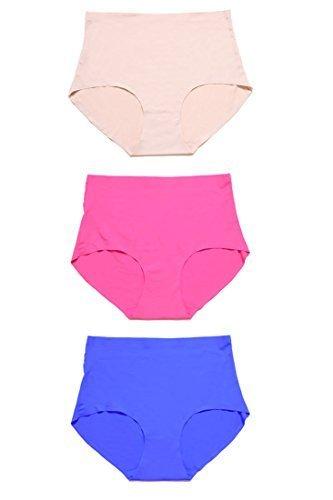Women's No-show High Waist Panty (Medium, 3 Pairs:royal blue/beige/fushia) - $24.74