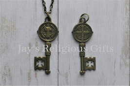 St Benedict Key Necklace Pendant - Religious / Catholic / Christian Bron... - $7.95