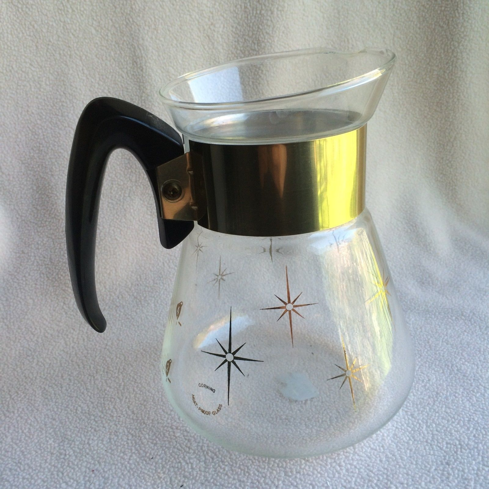 Vtg Corning Pyrex Mid Century Coffee Carafe Pot Atomic MCM Gold Starburst