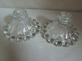 Boopie Beaded Candle Stick Holders Berwick Anchor Hocking Qty 2 Clear 1950 - $9.95