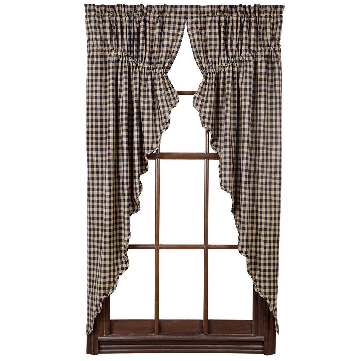 BLACK CHECK Scalloped Praire Curtains - Set of 2 - Raven and Khaki  - VHC Brands