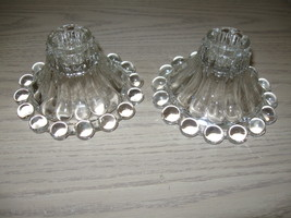 Anchor Hocking Berwick Boopie Beaded Candle Stick Holders Qty 2 Clear 19... - $9.95