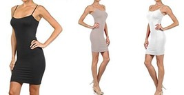 FashionMic 3 Pack Womens Seamless Cami Dress (One Size, charcoal/grey/white) - $24.74