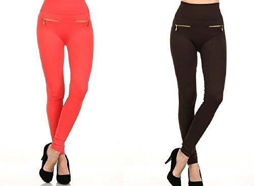 Primary image for Fashion MIC Women's High Waist Fleece Leggings with Zipper Detail (One Size, ...