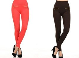 Fashion MIC Women's High Waist Fleece Leggings with Zipper Detail (One S... - $27.71