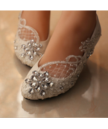 Bridesmaid Shoes,Beaded Lace Shoes,Crystal Lace Shoes,Wedding Heels,Brid... - $48.00