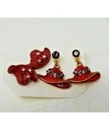 2 pair Red Hat Society Earrings - $3.95