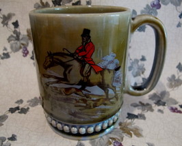 WADE Pottery Coffee Mug Cup HORSE and RIDER HUNTING DOGS Souvenir Collector - $14.95