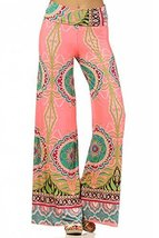 ICONOFLASH Women's Wide Leg Palazzo Pants with Foldover Waist (Pink Temptatio... - $34.64