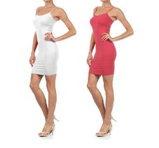 Fashion Mic Women's Solid Color Seamless Cami Slip Dress with Spaghetti Strap... - $17.81