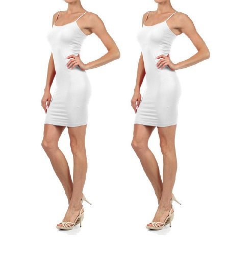 Women Solid Color Seamless Cami Slip Dress with Spaghetti Straps (Small / Med... - $14.83