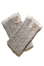Fashion Mic Women's Short Lace with Buttons Boot Legwarmers (one size, ivory) - $14.84