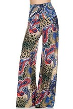 ICONOFLASH Women's Wide Leg Palazzo Pants (Royal Paisley Leopard, Large) - $34.64