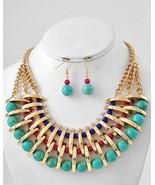 Designer inspired Dramatic turquoise stone wide bib gold tone necklace set - $34.64
