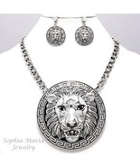 Bold statement lion pendant necklace set antiqued silver link celebrity style - £21.94 GBP