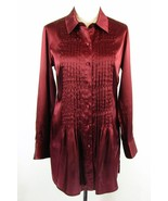 CHICO'S Size 1 M 8 10 Tucked Satin Charmeuse Shirt Tunic Button Down Top - $22.99