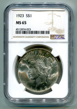 1923 Peace Silver Dollar Ngc Ms 65 Nice Original Coin Bobs Coins Fast Ship - $135.00