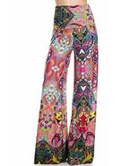 Women's Wide Leg Palazzo Pants (Coral Psychedelia, M) [Apparel] - $37.61