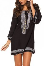 Women's Dress with Contrast Embroidery (Black Mosiac, Small) [Apparel] - $32.66