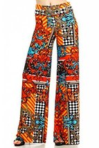 ICONOFLASH Women's Wide Leg Palazzo Pants with Foldover Waist (Orange Designe... - $29.69