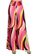 ICONOFLASH Women's Extra Wide Leg Palazzo Pants with Foldover Waist (Lollipop... - $37.61