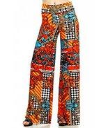 ICONOFLASH Women's Wide Leg Palazzo Pants with Foldover Waist (Orange De... - $29.69