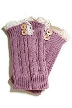 Fashion Mic Women's Short Lace with Buttons Boot Legwarmers (one size, dusty ... - $14.84