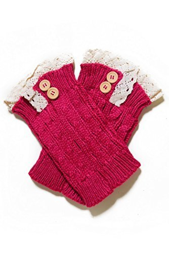 Fashion Mic Women's Short Lace with Buttons Boot Legwarmers (one size, fuchsia) - $14.84