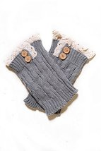 Fashion Mic Women's Short Lace with Buttons Boot Legwarmers (one size, grey) - $14.84