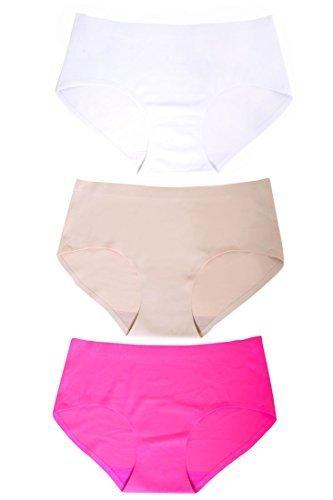 Women's No-show Bikini Panty (Medium, 3 pairs:beige/fushia/white) - $18.80