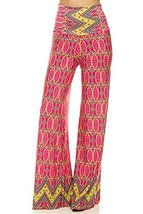 ICONOFLASH Women's Wide Leg Palazzo Pants with Foldover Waist (Pink Pizzazz, ... - $32.66