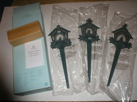 Partylite Aviary Garden Stakes Set Of 3 P8483 New In Box - $12.00