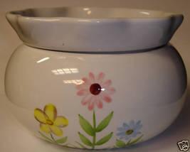 Self Watering Ceramic Planter ~ White w/ Pastel Flowers - $10.00