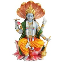 8 Inch Vishnu with Lotus Mythological Indian Hindu God Statue Figurine - $43.76