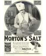 1943 Woman Chef using Morton's Salt in Kitchen print ad - $10.00