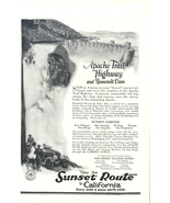 1923 Sunset Route Apache trail highway travel art print ad - $10.00
