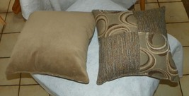Pair of Beige White Brown Patchwork Print Throw Pillows  18 x 18 - $49.95