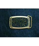 "Mosaic beaded aurora black & gold tone brass belt buckle NEW 3"" x 1.75"" - $80.99"