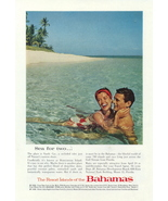 1952 Bahamas Sandy Cay Honeymoon Island couple print ad - $10.00