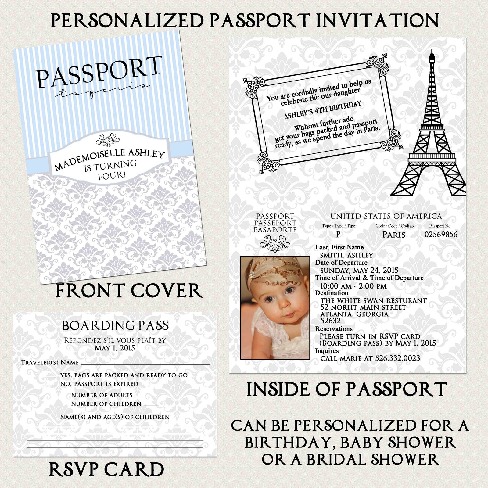 Blue, Silver Paris Passport, Boarding Pass Invitation Set, Envelope Any Occasion
