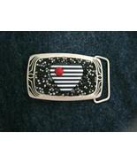 "Mosaic beaded Heart black & white silver tone brass belt buckle NEW 3"" x... - $80.99"