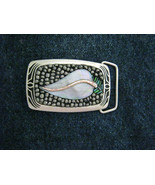 "Mosaic beaded MOP Leaf silver tone brass belt buckle NEW 3"" x 1.75"" - $80.99"