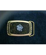 "Mosaic beaded MOP Rose black & gold tone brass belt buckle NEW 3"" x 1.75"" - $80.99"
