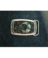 "Mosaic beaded shell Crescent Moon silver tone brass belt buckle NEW 3"" x... - $80.99"