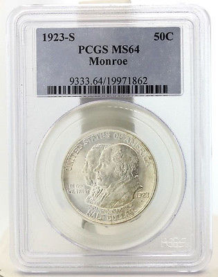 1923-S Monroe 50C Commemorative Half Dollar PCGS MS64 XZ-09