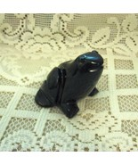 Carved Black Obsidian Handmade Frog From Peru, 2-1/4 Inches High - $27.00